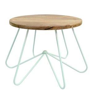 Světle zelený stolek se snímatelnou deskou z mangového dřeva HF Living Round Stocky