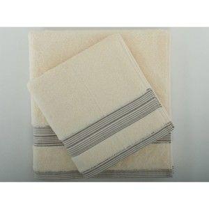 Set béžového bavlněného ručníku a osušky z bavlny Serit