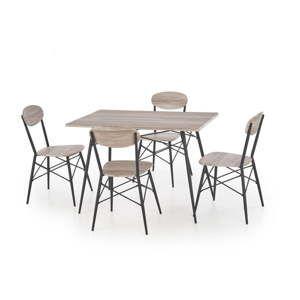 Set stolku a 4 židlí v dekoru dubového dřeva Halmar Kabir