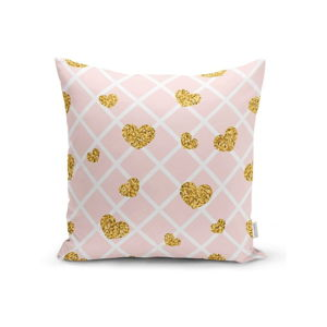 Povlak na polštář Minimalist Cushion Covers Golden Hearts Pink Cubes, 45 x 45 cm