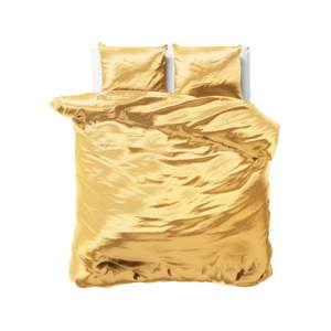 Žluté povlečení ze saténového mikroperkálu na dvoulůžko Sleeptime, 240x220cm