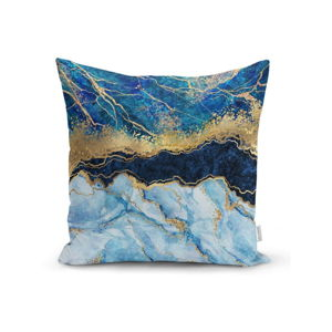Povlak na polštář Minimalist Cushion Covers Marble With Blue, 45 x 45 cm