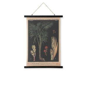 Nástěnná dekorace ze dřeva a lnu HF Living Bush, 55 x 75 cm