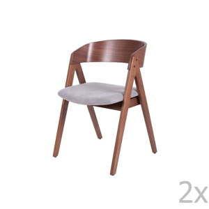 Sada 2 jídelních židlí s šedým podsedákem sømcasa Rina