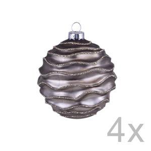 Sada 4 hnědých závěsných vánočních koulí na stromek Ego Dekor Murro