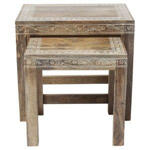 Sada 2 odkládacích stolků z mangového dřeva Kare Design Desert Queen