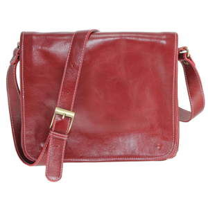 Červená kožená taška přes rameno Chicca Borse Norma