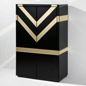 Černá barová skříňka s detaily ve zlaté barvě Thai Natura Night