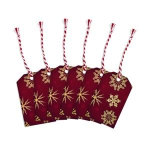 Sada 6 jmenovek na dárky Butlers Sněhová Vločka, 9 x 5,5 cm