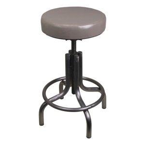 Šedá stolička z kovu s koženým potahem HSM collection Revolving