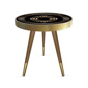Příruční stolek Rassino Marble Black And Gold Circle, ⌀ 45 cm