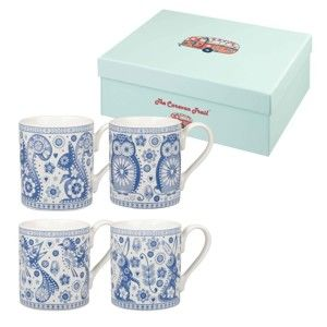 Sada 4 hrnků Churchill China Penzance Blue Mug, 250 ml
