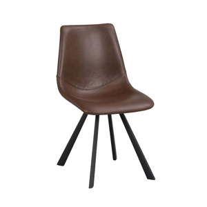 Hnědá jídelní židle s černými nohami Folke Alpha