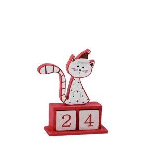 Dřevěný adventní kalendář s motivem kočky Ego Dekor Cat, výška13cm