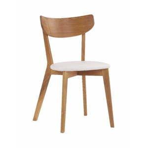 Hnědá dubová jídelní židle s bílým sedákem Rowico Ami