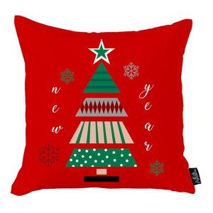 Červený vánoční povlak na polštář Apolena Honey Christmas New Year Tree, 45x45cm
