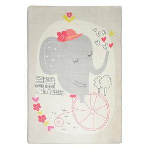 Dětský protiskluzový koberec Chilai Elephant on Bike,140x190cm