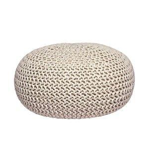 Krémový pletený puf LABEL51 Knitted XL