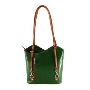 Zelená kožená kabelka Chicca Borse Phoebe