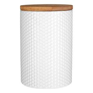 Bílá dóza s bambusovým víkem Premier Housewares, ⌀ 10 cm
