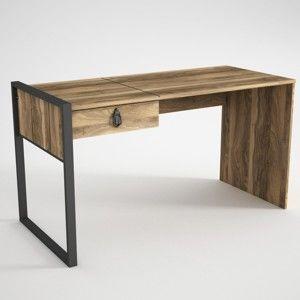 Pracovní stůl se zásuvkou vořechovém dekoru Lost
