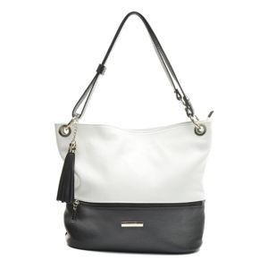 Černo-bílá kožená kabelka Anna Luchini Tanya