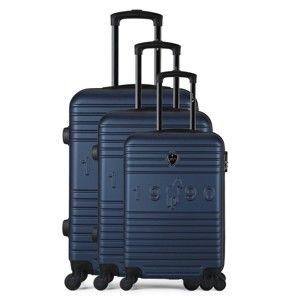 Sada 3 tmavě modrých cestovních kufrů na kolečkách GENTLEMAN FARMER 1990 Valises
