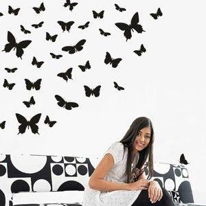 Černá samolepka na stěnu Wallvinil Motýlí ráj