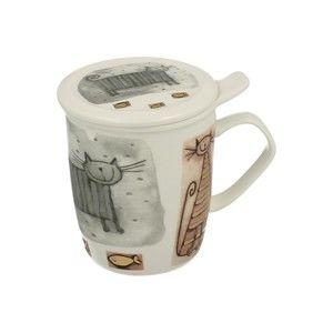 Porcelánový hrnek s filtrem s motivem kočky Duo Gift, 400 ml