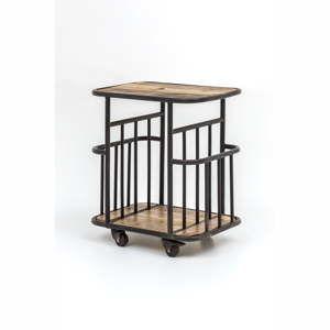 Servírovací vozík z mangového dřeva s kovovou konstrukcí Index Living Industrial