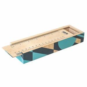 Modré pouzdro z bukového dřeva na tužky Portico Designs Geometrico