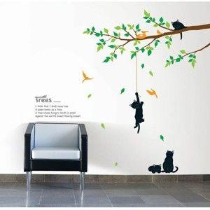 Sada nástěnných samolepek Ambiance Tree And Cat