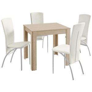 Set jídelního stolu a 4 bílých jídelních židlí Støraa Lori Nevada Duro Oak White