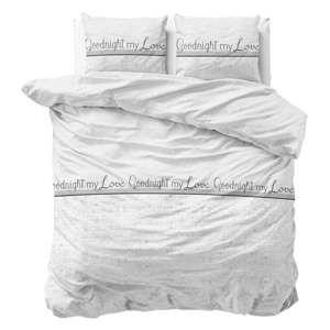 Bílé povlečení z bavlny Sleeptime Goodnight my Love,200x220cm