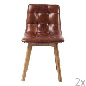 Sada 2 židlí s koženým sedákem Kare Design Moritz