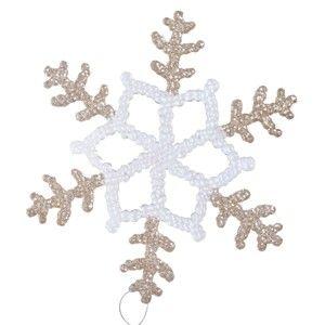 Závěsná dekorace v bílé a béžovozlaté barvě Ewax Snowflake, ⌀20cm