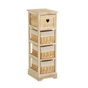 Komoda ze dřeva paulownia se zásuvkou a 3 košíky Unimasa Hannah, výška81cm