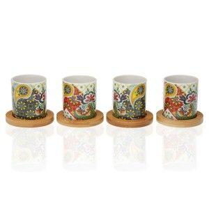 Sada 4 porcelánových šálků s bambusovými podšálky Versa Giardino