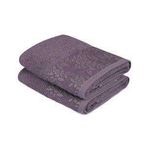 Sada 2 tmavě fialových ručníků z čisté bavlny, 50 x 90 cm