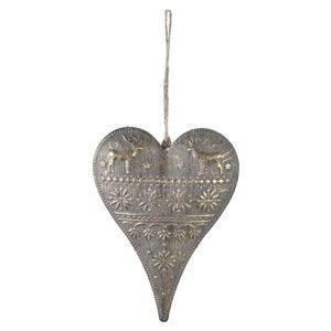 Závěsná dekorace ve tvaru srdce ve zlaté barvě Ego Dekor Heart,výška16cm