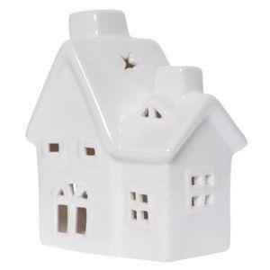 Bílý keramický svícen ve tvaru domku Ewax Maison Enniege, výška13cm