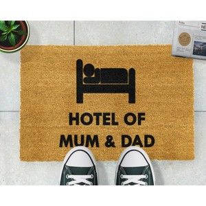 Rohožka z přírodního kokosového vlákna Artsy Doormats Hotel Mum And Dad,40x60cm