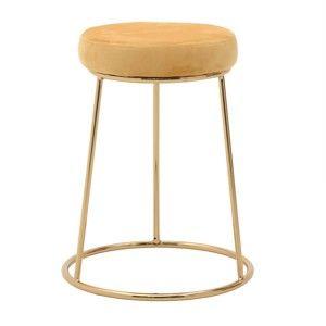 Žlutá stolička InArt Velvet Society, výška55cm