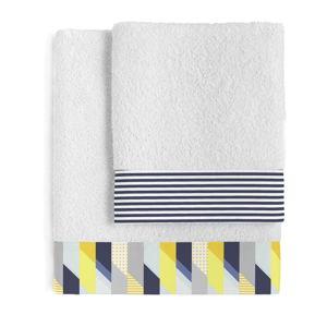Sada 2 bavlněných ručníků Blanc Geo