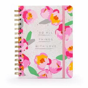 Linkovaný zápisník s květinovým motivemv kroužkové vazbě Tri-Coastal Design, 120 stran