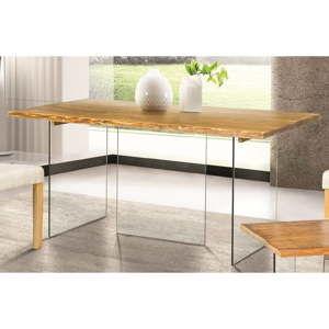 Skleněný jídelní stůl s deskou z jasanové dýhy Evergreen House Luis