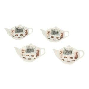 Sada 4 porcelánových tácků na čajové sáčky Duo Gift Kotty
