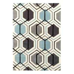 Šedomodrý ručně tuftovaný koberec Think Rugs Hong Kong Hexagon Grey & Blue, 90 x 150 cm