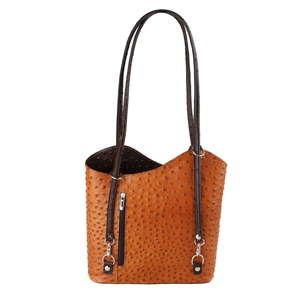 Koňakově hnědá kožená kabelka s tmavě hnědými detaily Chicca Borse Parona