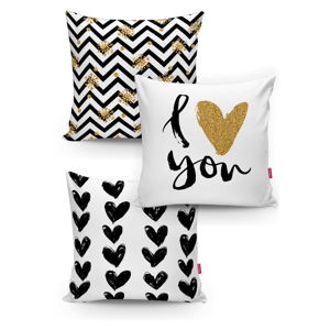 Sada 3 povlaků na polštáře Minimalist Cushion Covers BW With Hint Of Gold, 45 x 45 cm